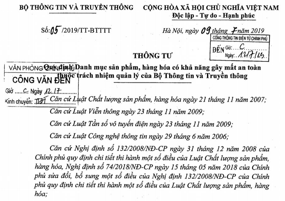 danh muc thong tu 05